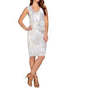 26W H Halston Printed Sleeveless Drape Front Dress